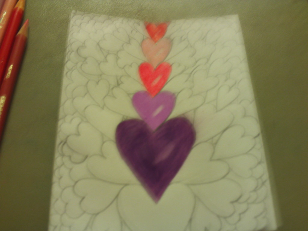 Coloring The Hearts On The Card
