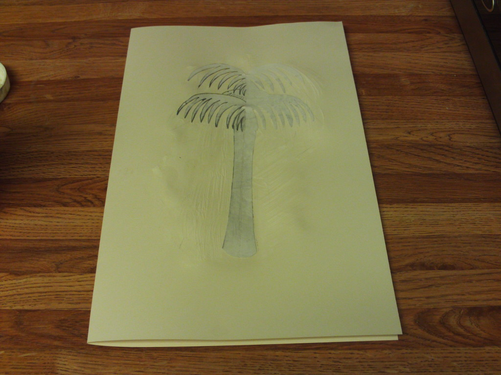 Gluing The Palm Tree To The Card