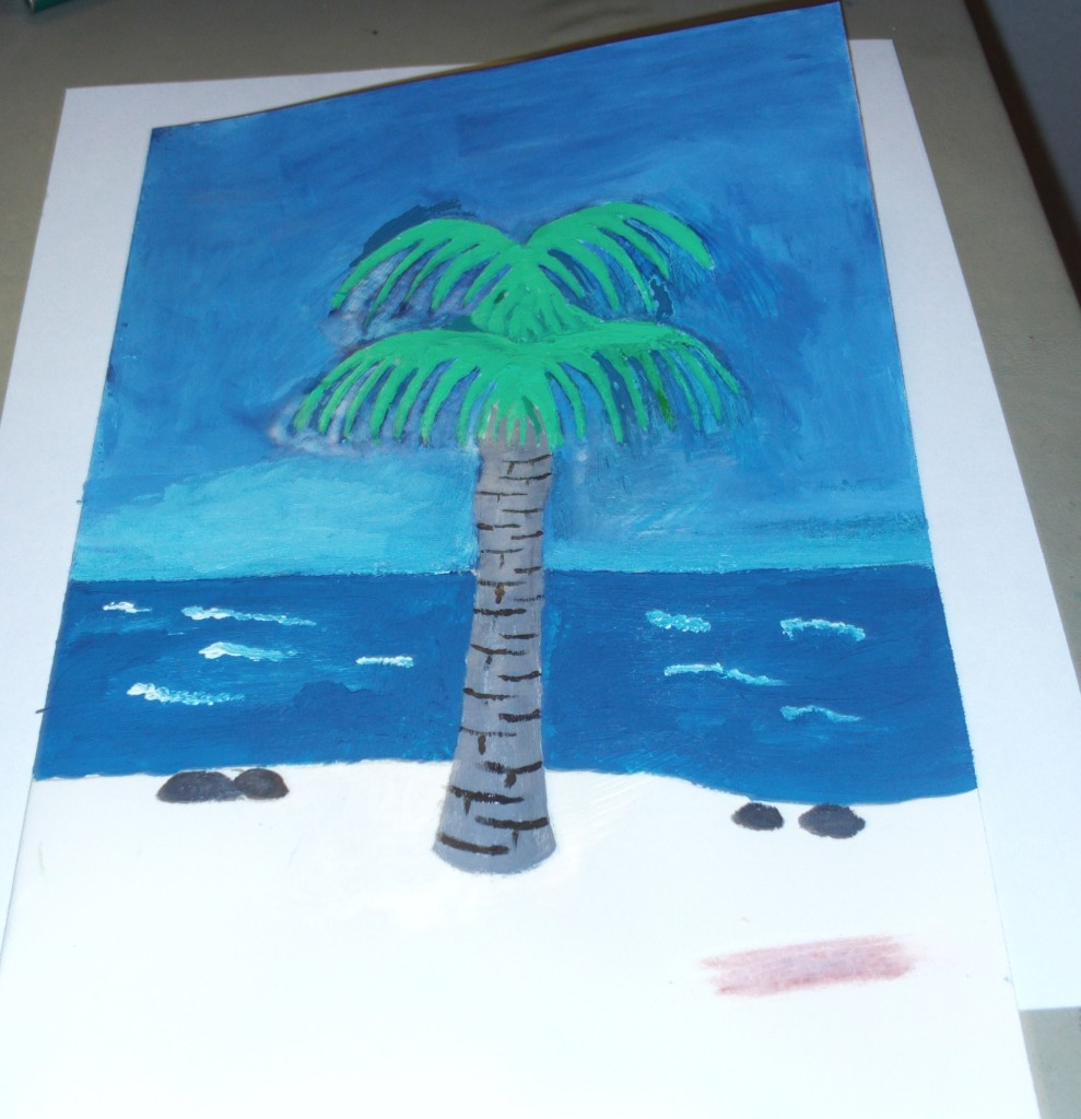 Painting In The Trunk of The Palm Tree