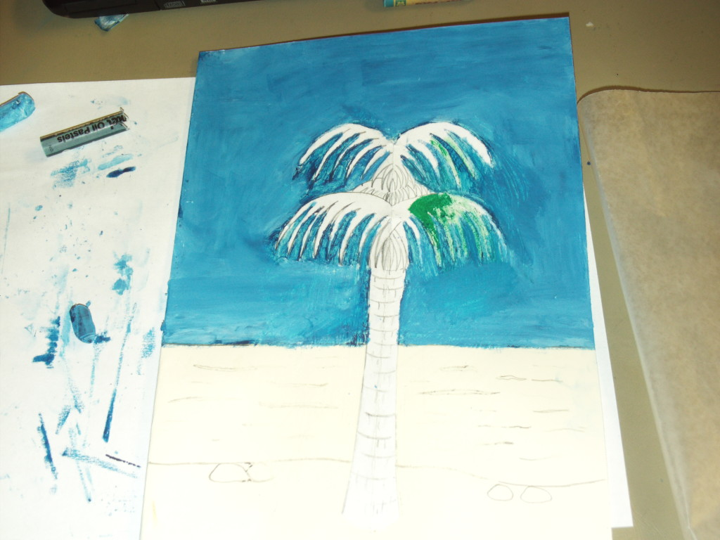 Coloring In The Palm Fronds