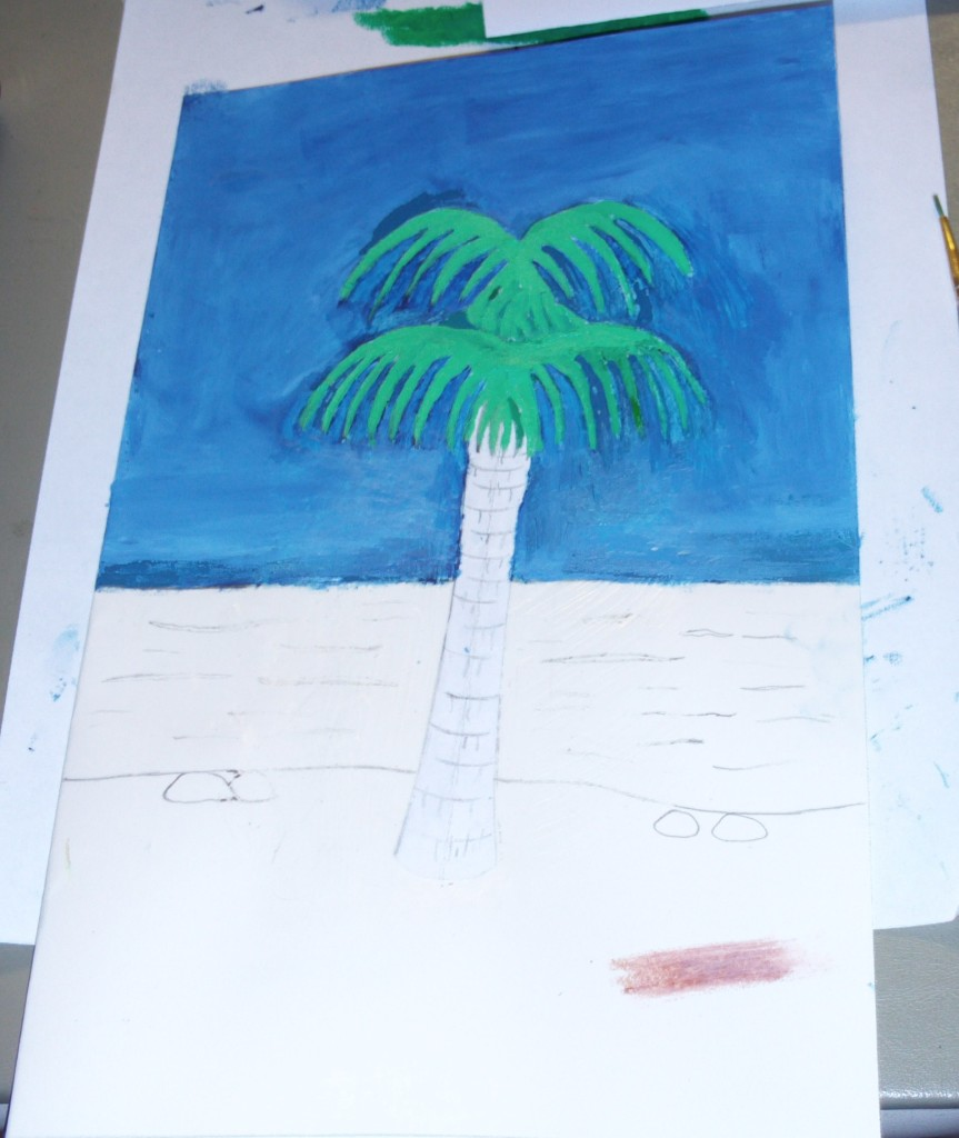 Painting The Fronds of The Palm Tree