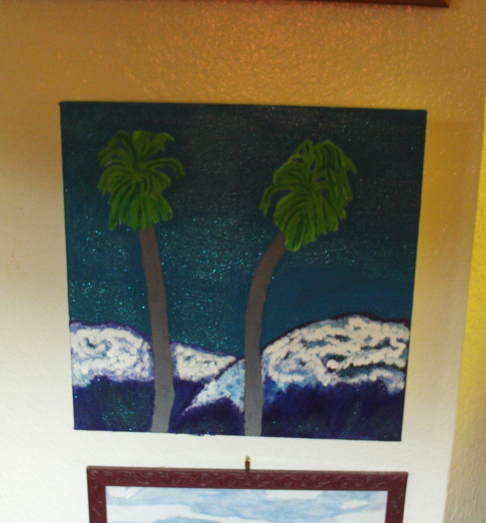 Painting Two Palm Trees And The San Bernardino Mountains