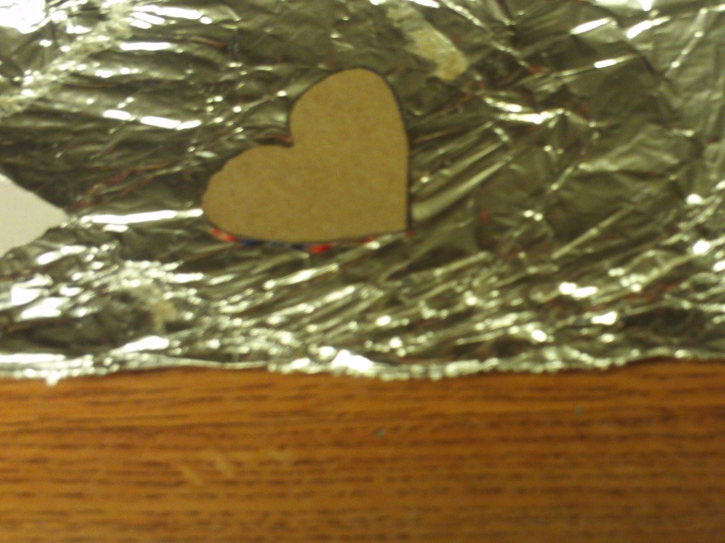 Wrap Cardboard Heart In Tinfoil