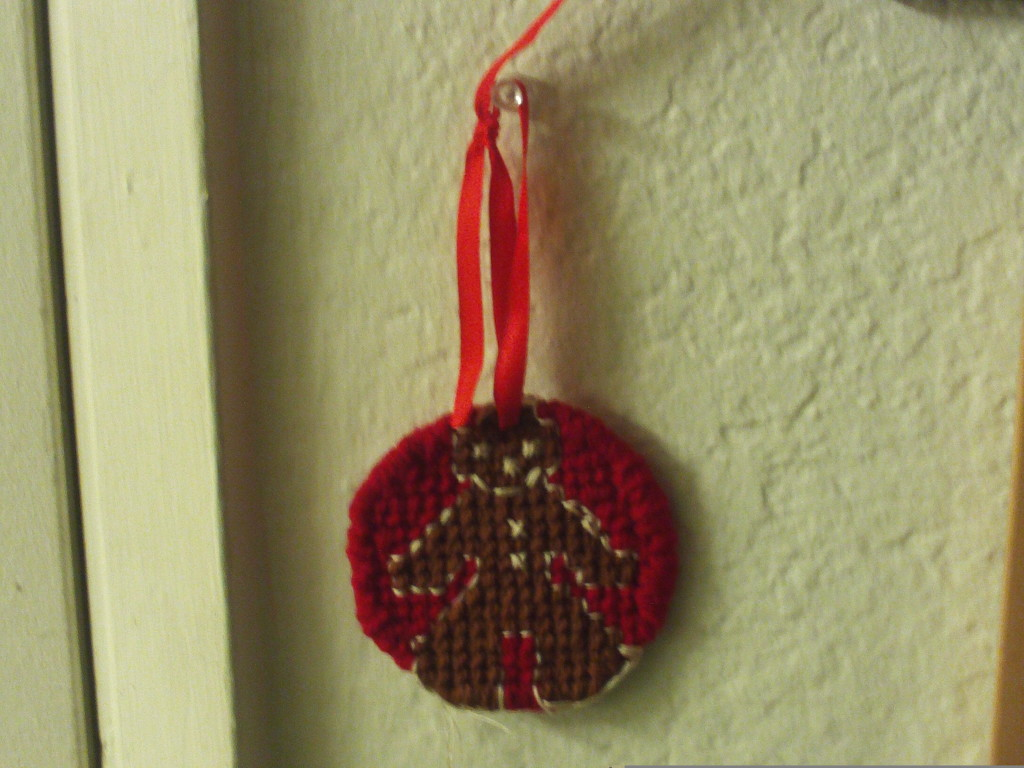 Cross Stitched Gingerbread Man Ornament