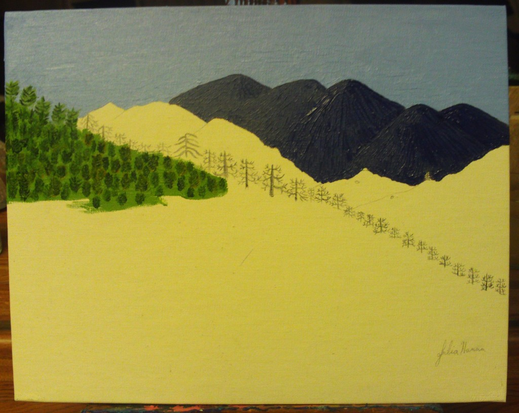 Painting in Mount Baldy in the background, and the green mountain with trees in the foreground.