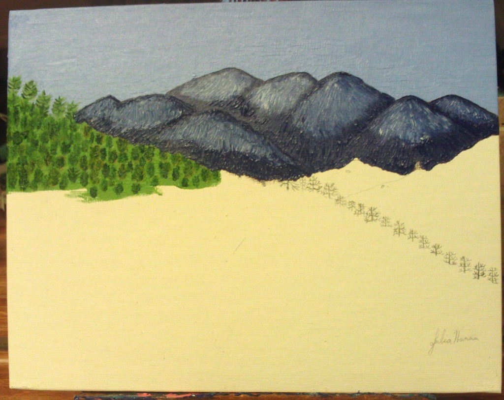 Using titanium white paint to create the snow capped peaks of Mount Baldy.