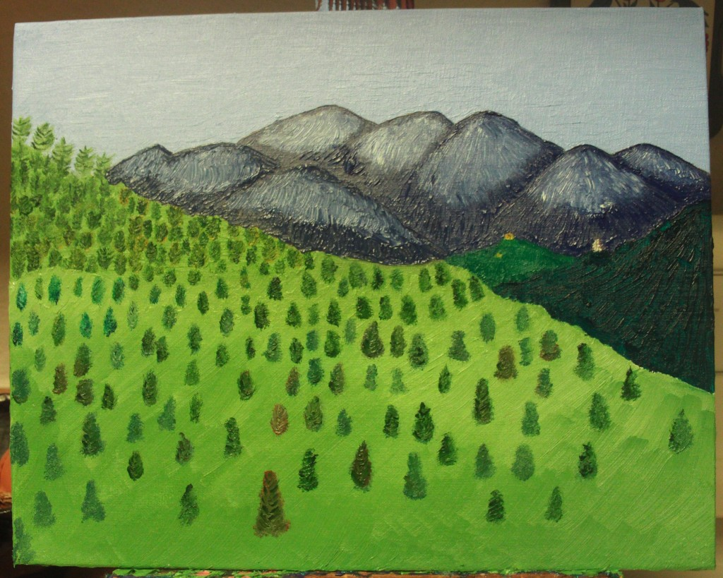 Here I have I have painted in more trees in the foreground of the San Bernardino Mountains.