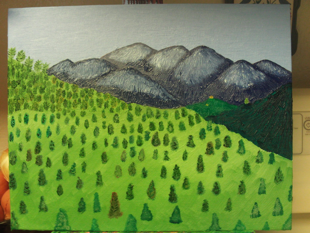 Here I have added more trees to the foreground, which is the San Bernardino Mountains.