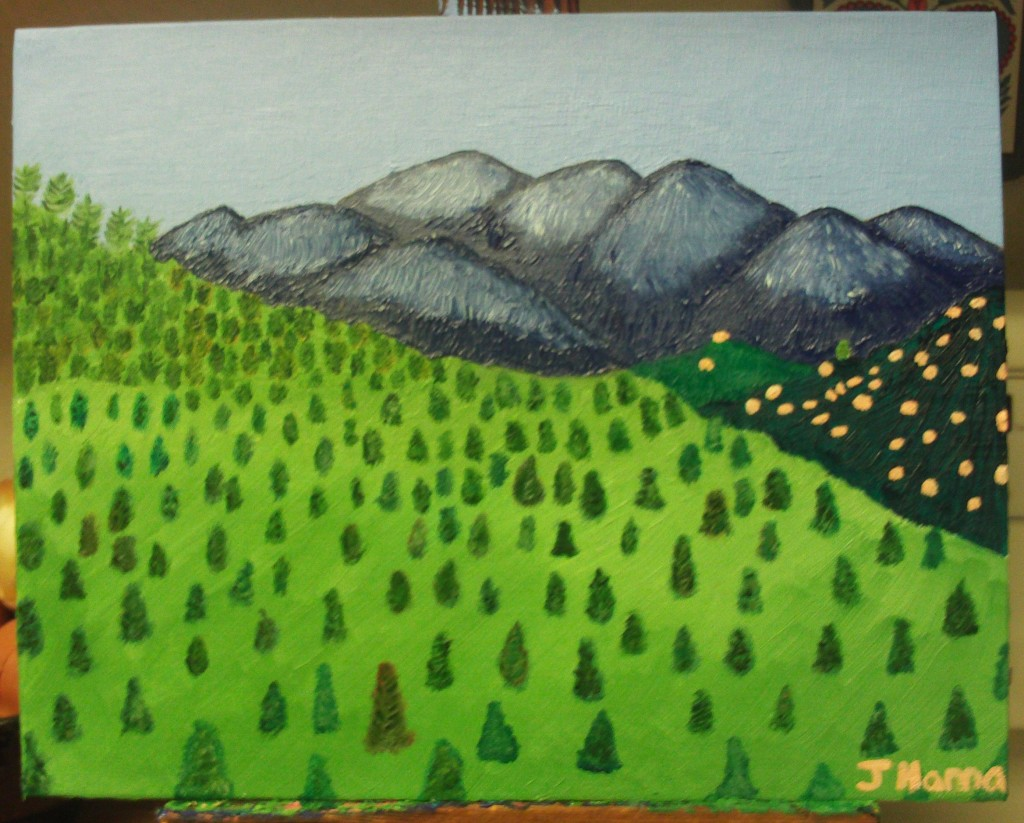 I added boulders to the dark green hills on the left-hand side of the canvas.  The boulders were created with a peachy beige tint of oil paint.
