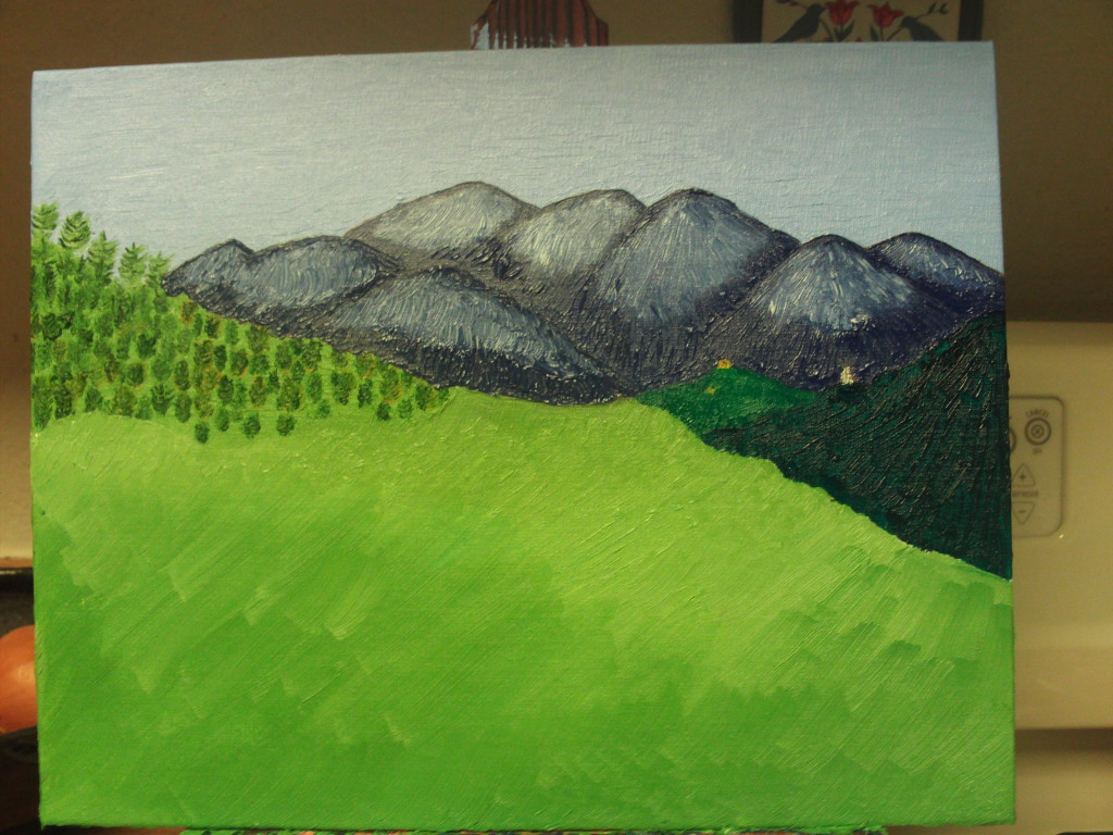 Here I have painted in the foreground the San Bernardino Mountains. I will be adding more trees to this foreground area.
