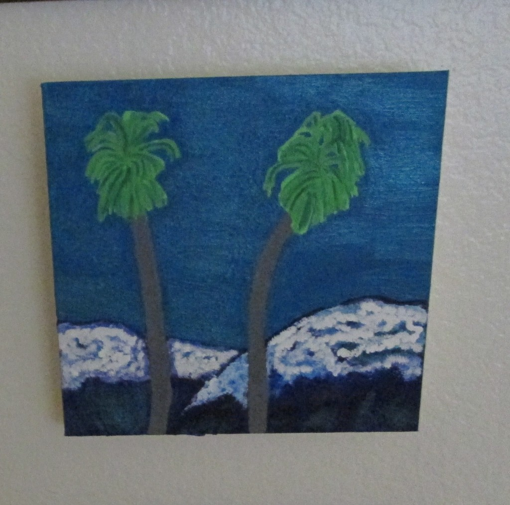 I created this painting with acrylics, and used sparkly paint to create the luminous effect on the San Bernardino Mountains after a snow storm.