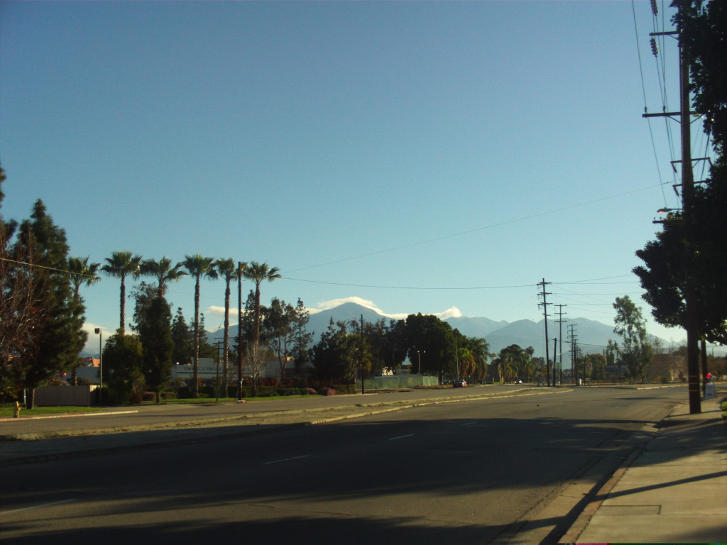 In the early morning Mount San Gorgonio is crowned with clouds.  There are palm trees in the foreground.