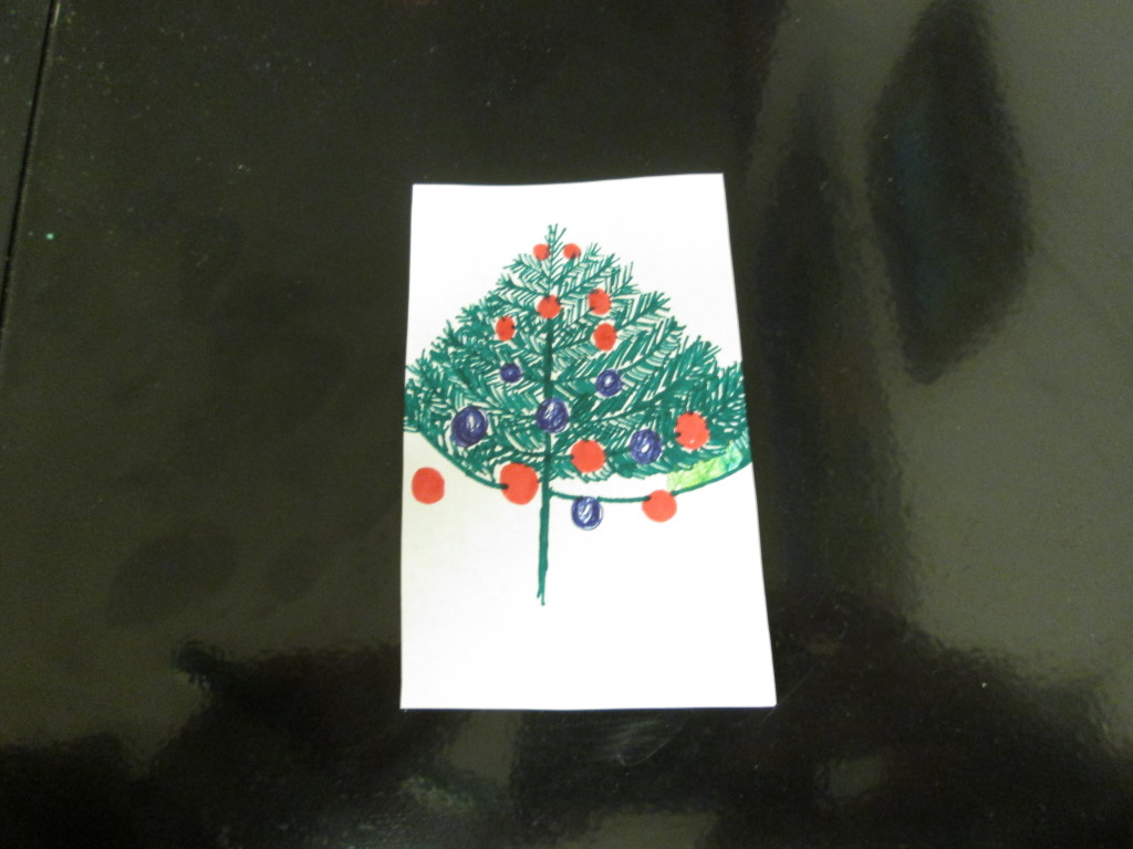 Here is the Christmas tree illustration that was unfinished from December.