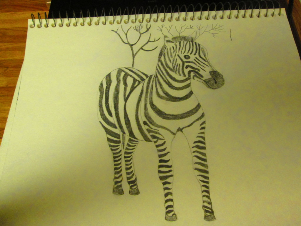 The zebra portion of the drawing is almost complete.