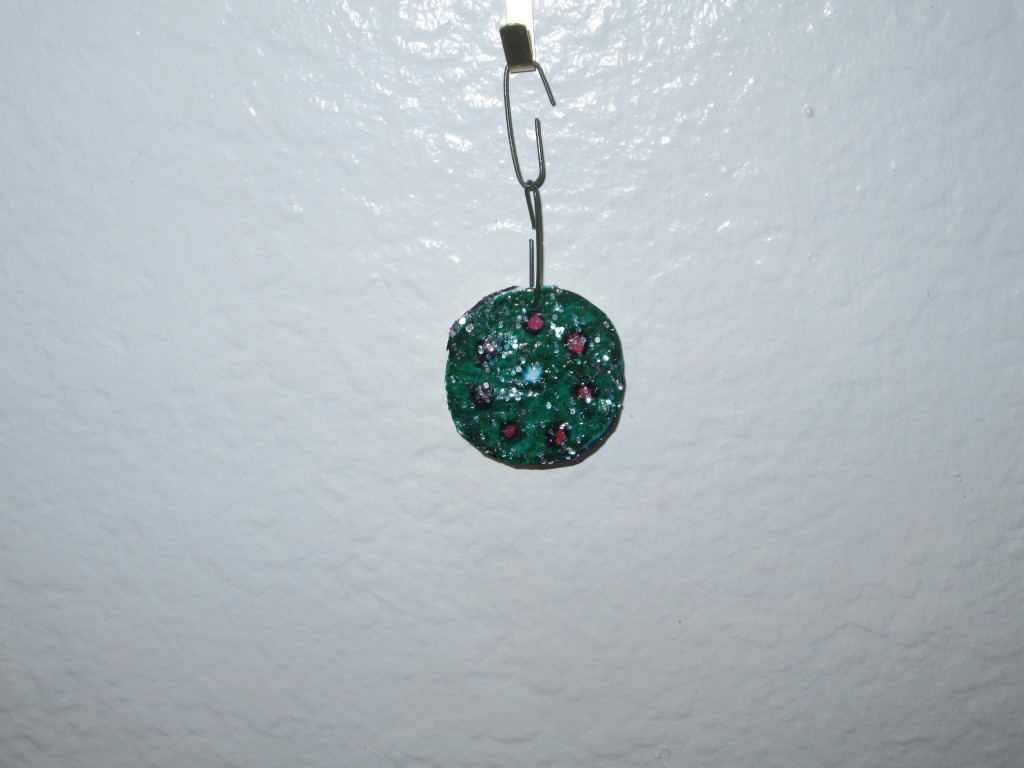 Here is the slightly larger wreath drawing that I turned into an ornament.  I love the way the glitter makes it sparkle.