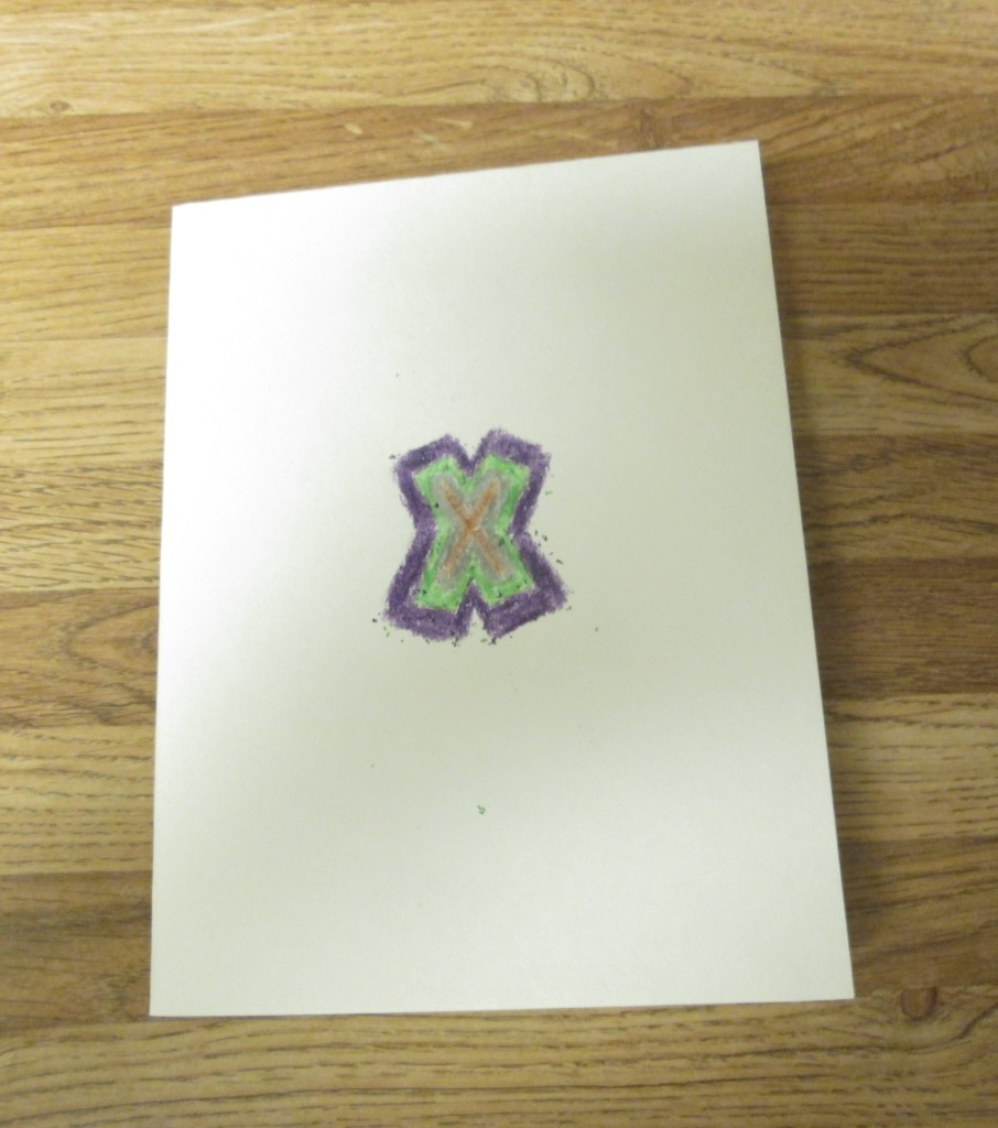 The first x was made with a gold colored crayon, then I switch to silver, green, and the bronze