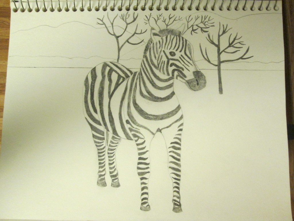 Starting to draw the background for my zebra with dead trees, grass land, bushes, and mountains in the distance.
