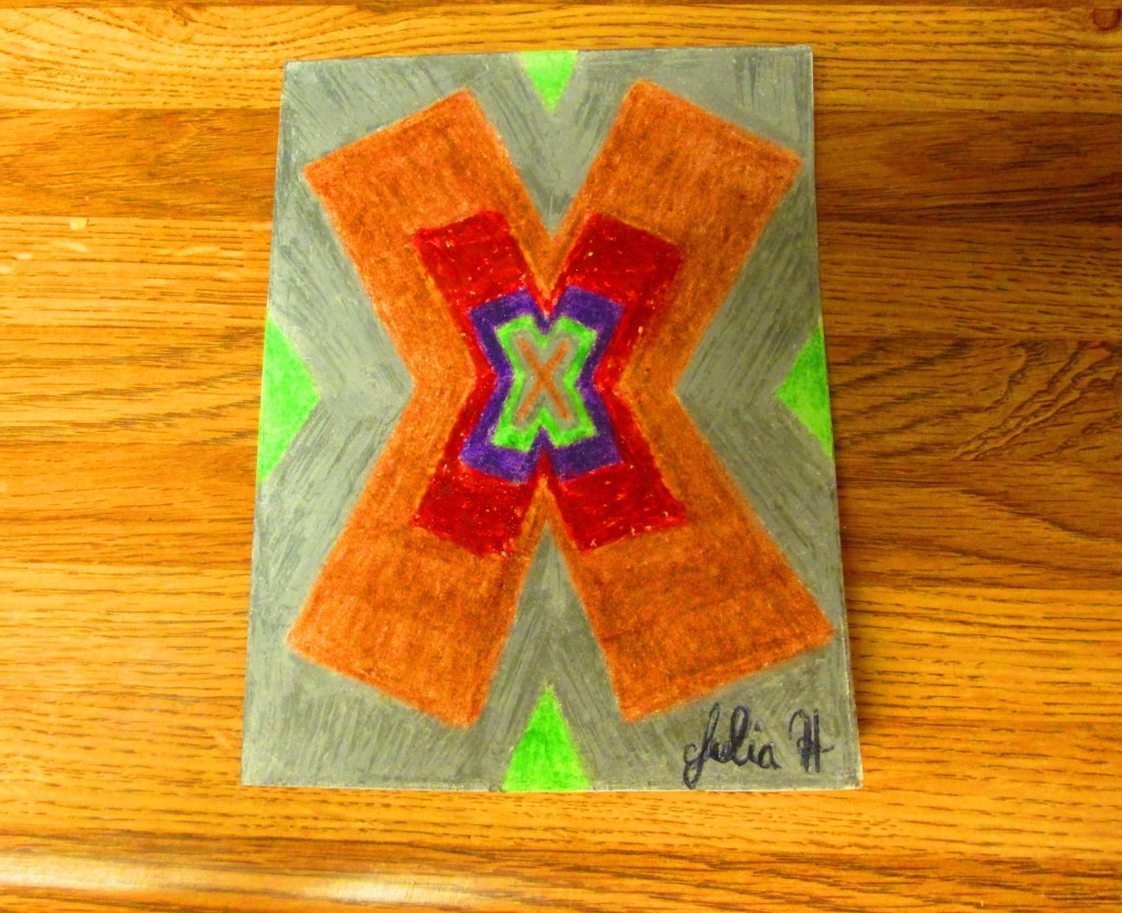 The completed card with the X design on it.
