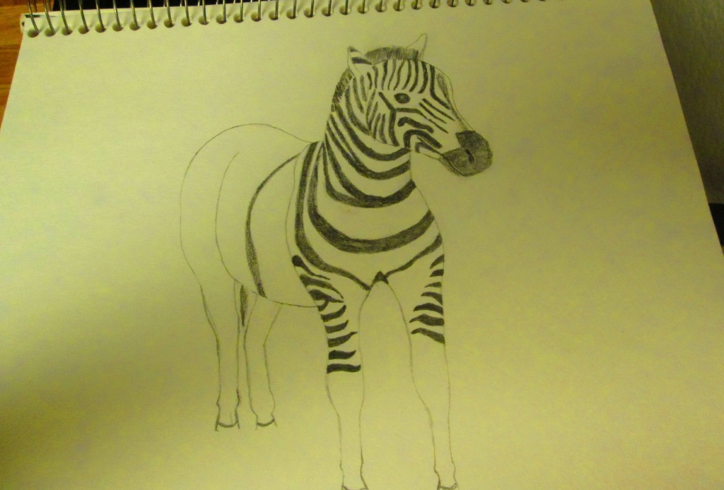Drawing on more stripes for the zebra.