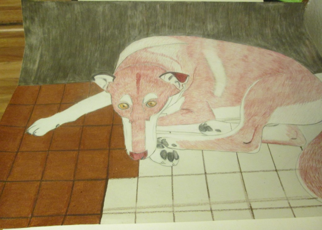 I used sienna brown colored pencils to create the tiles Lady dog is lying on.  The grout in between the tiles was created with a chocolate brown colored pencil.