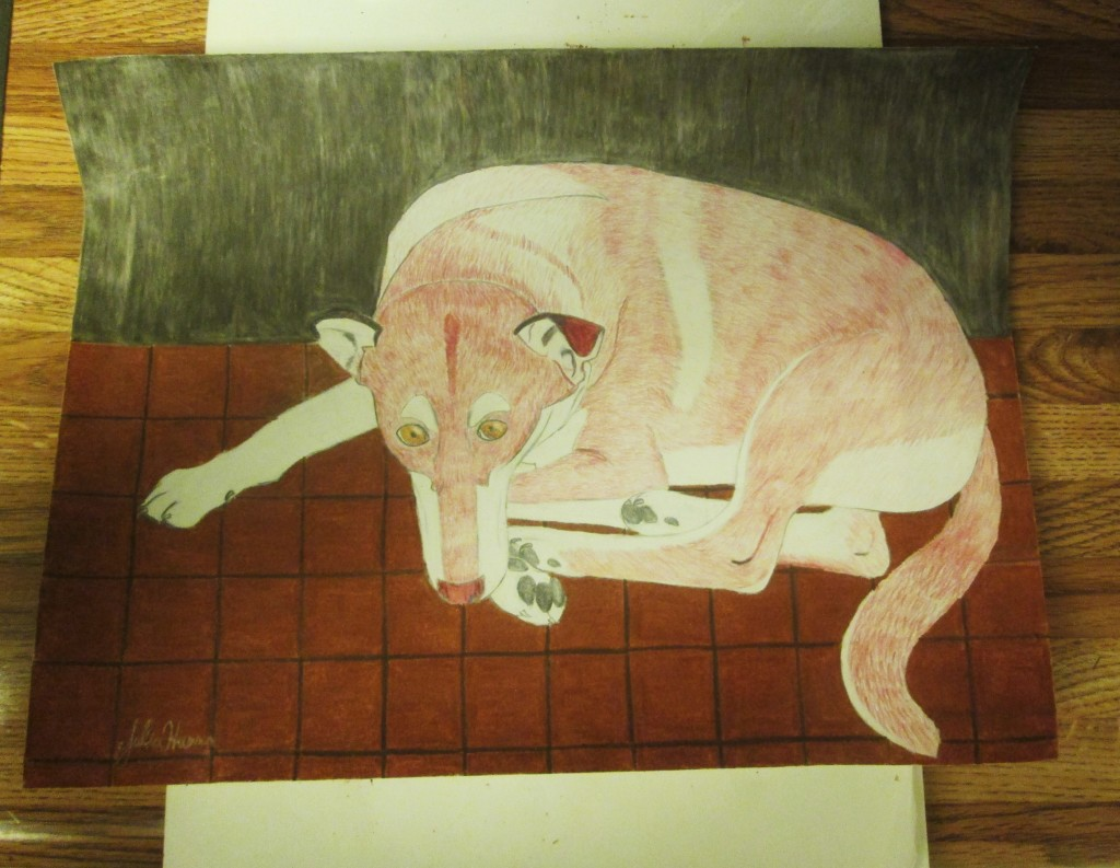 Here is the completed colored pencil drawing of Lady dog.
