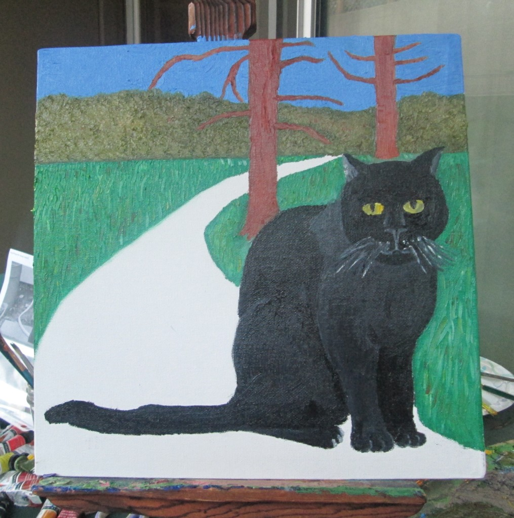 I painted in the trees and the grass behind Irina the cat.