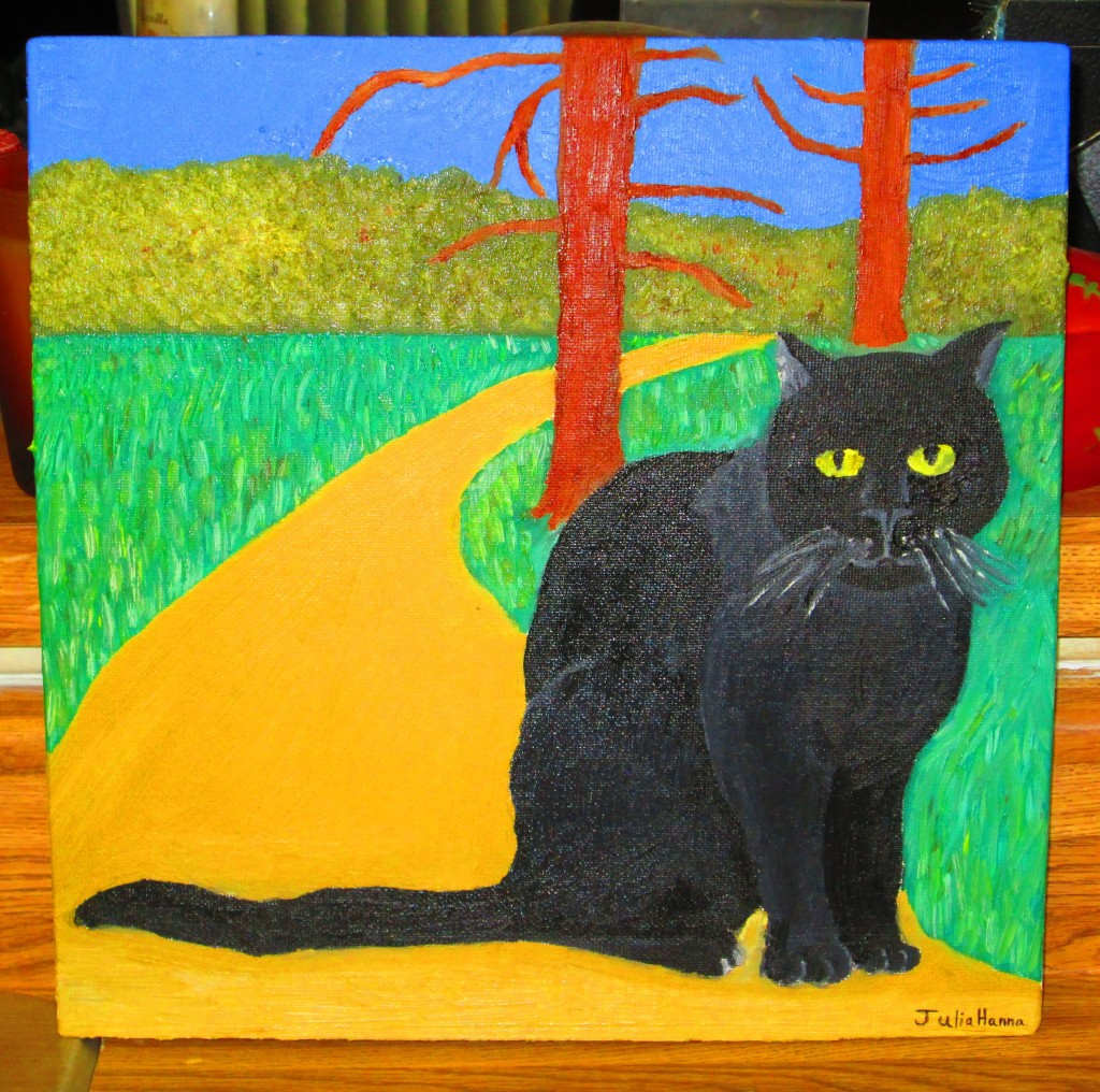 Painting of Irina The Cat Running Out The Woods