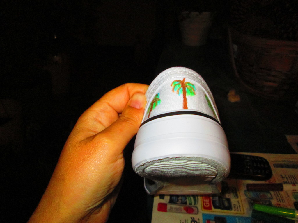Three small palm trees of the canvas shoe.