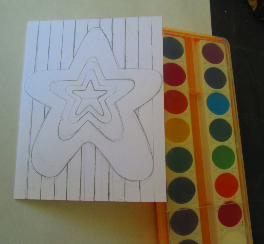 I used a ruler to add the stripes to the card.