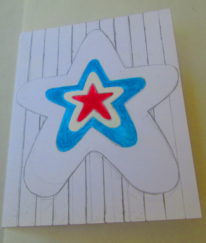 Next, I painted in the blue star.