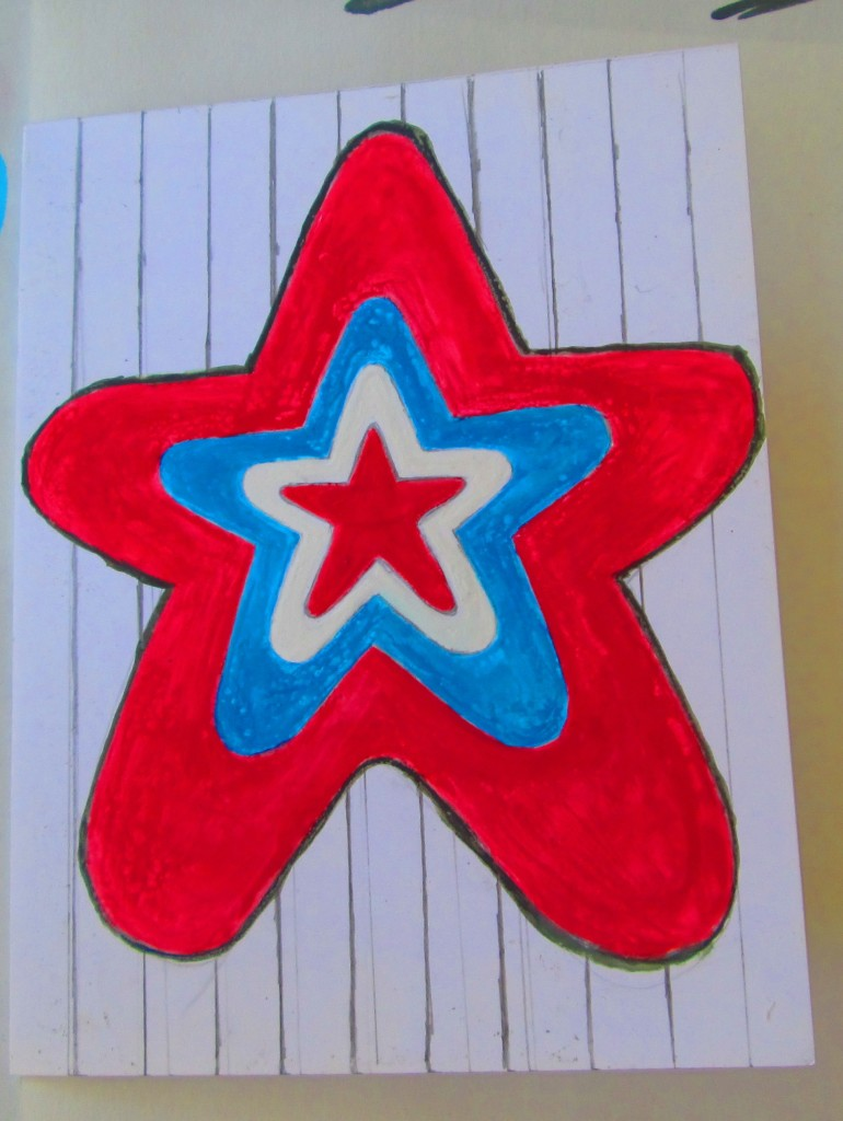 Paint in the red star, which is the last star in the pattern.