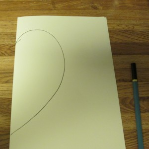 A heart template was drawn on a piece of cardstock.