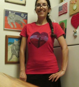 The fabric marker design was heat set by placing the shirt in the dryer for about an hour.  Here I am trying the heart sunset shirt on for the first time.