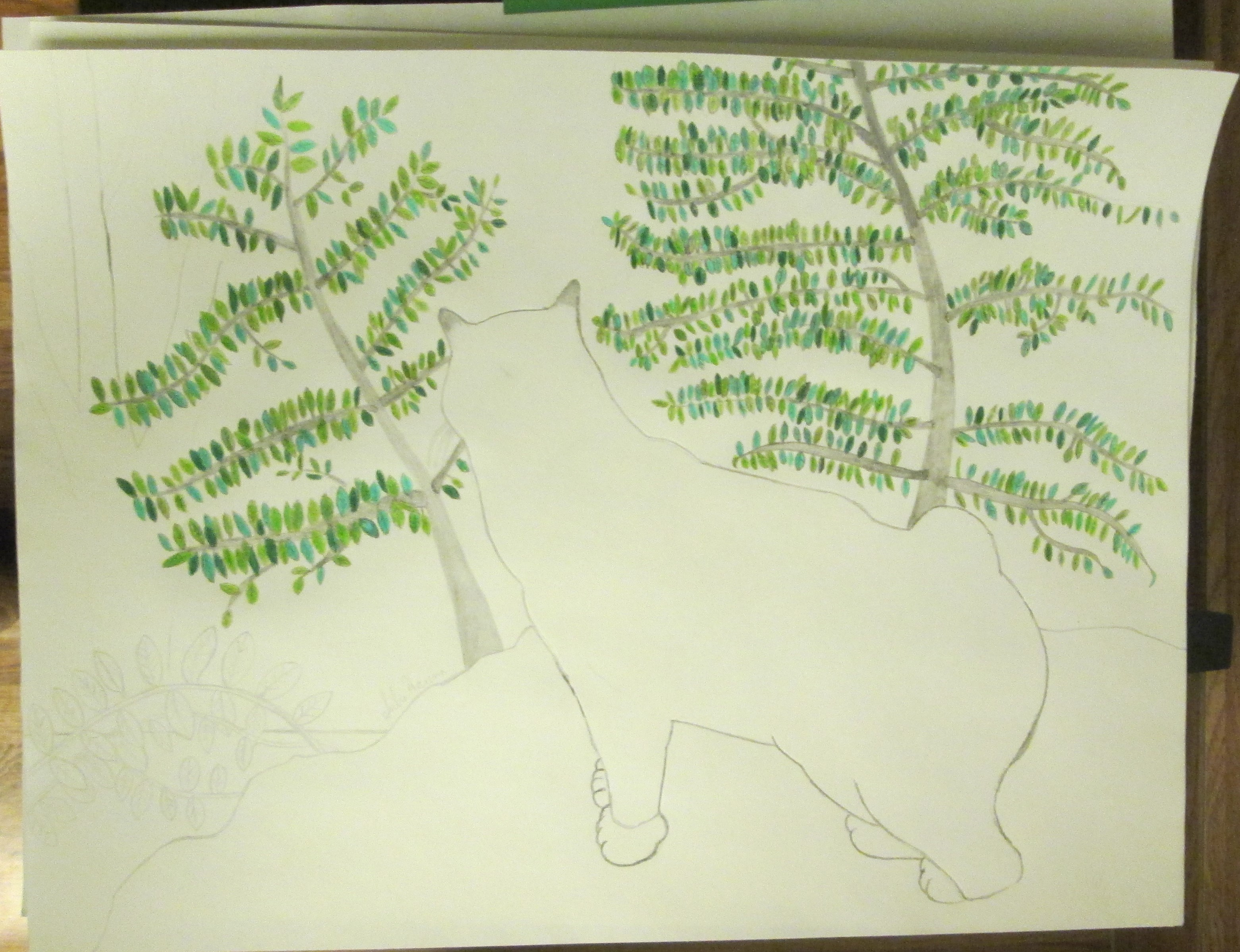 I am at the half-way point of the drawing.  The scrub oak trees have almost all shaded in.