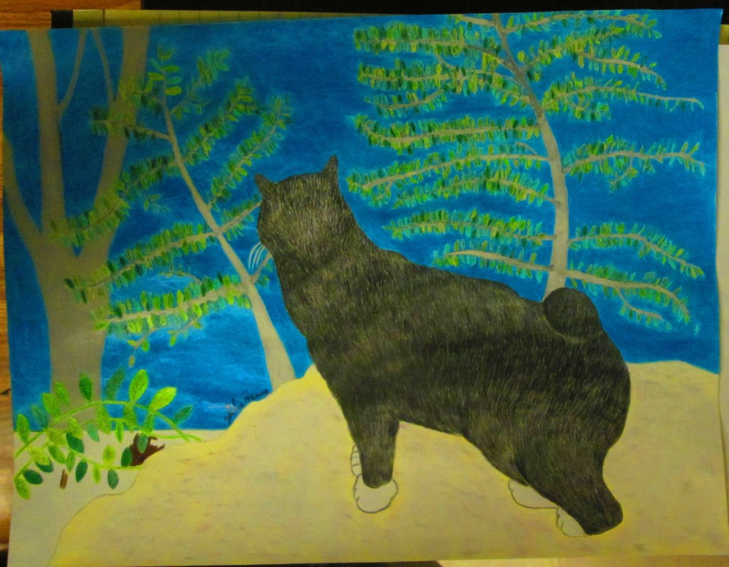 The fur of the cat has been colored in during this phase of the drawing.