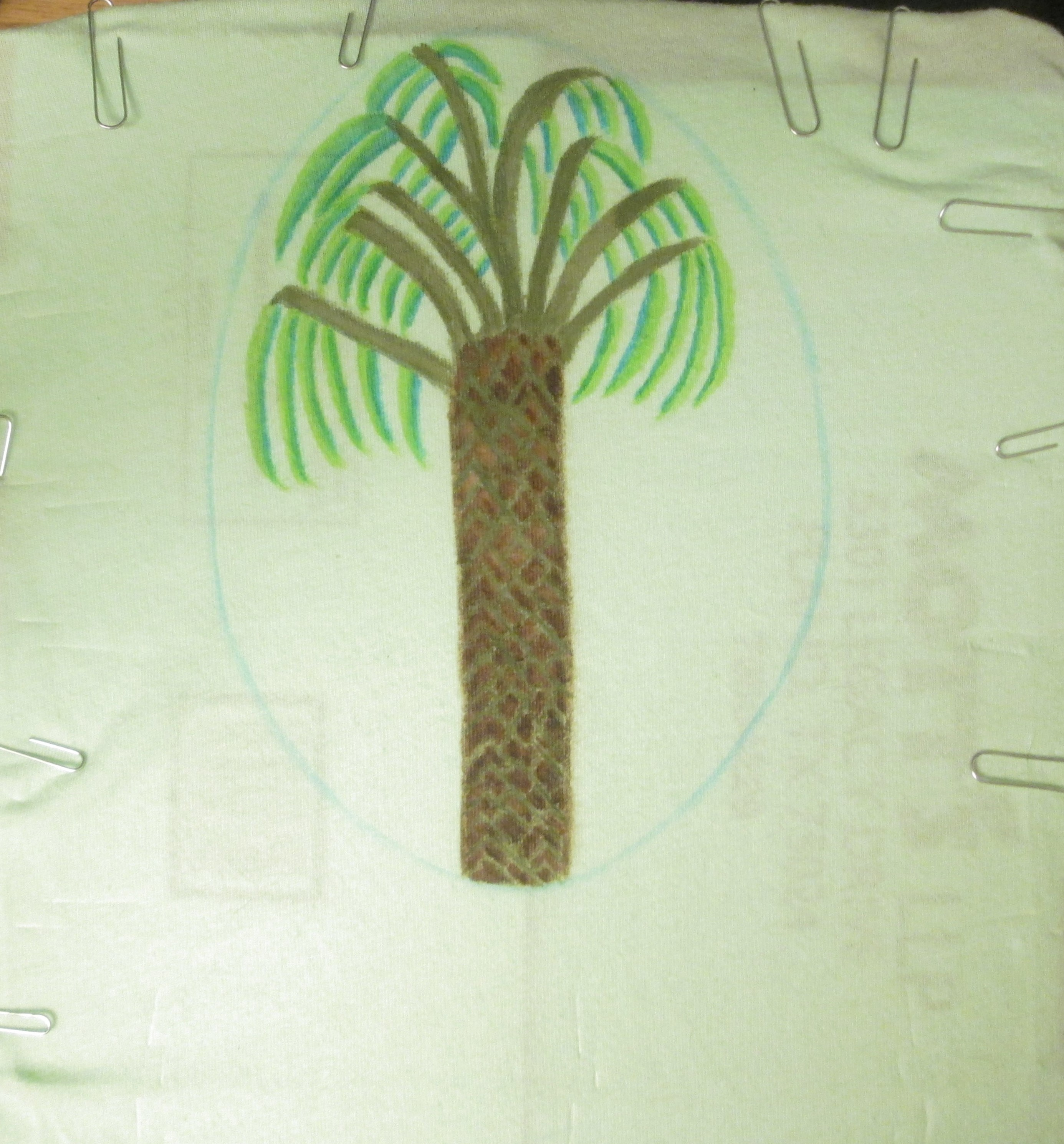 I used to different shades of green to create the palm tree fronds.