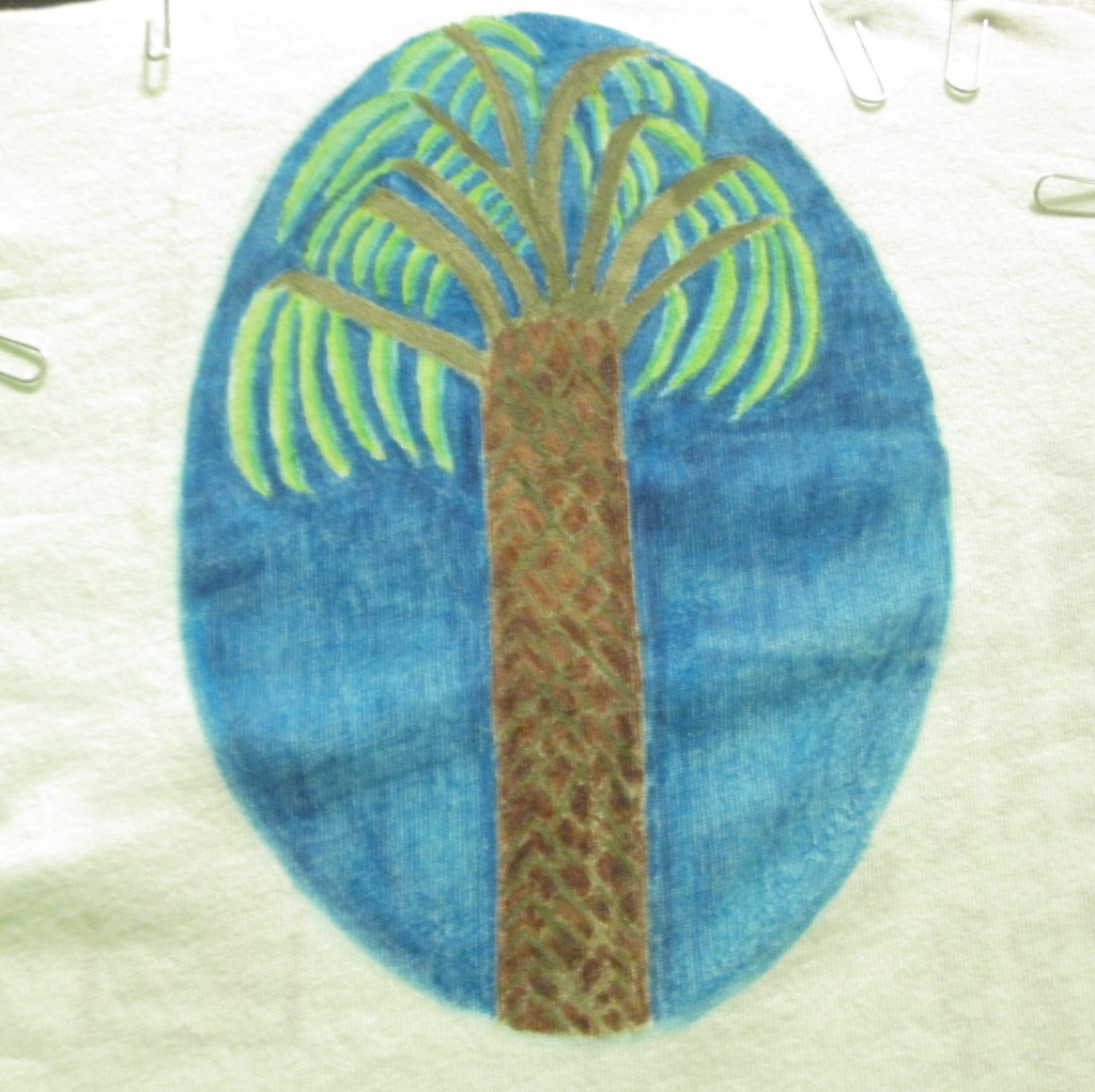 Here is the complete palm tree illustration that I created with fabric markers.
