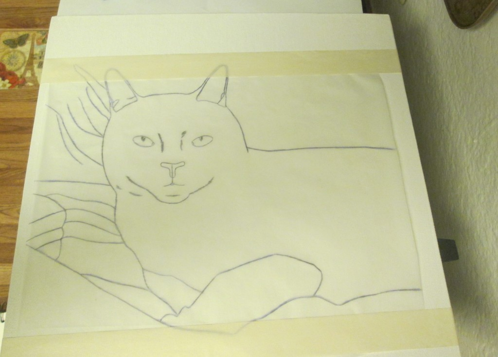 The artist tape was used to secure the tracing paper to the canvas board.