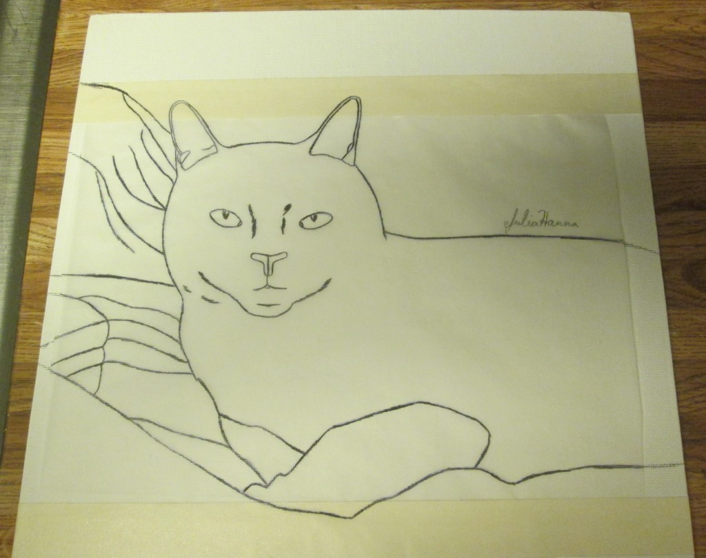 I used a black colored pencil to trace over the cat, which helped me to visual track which parts of the composition I had already traced.
