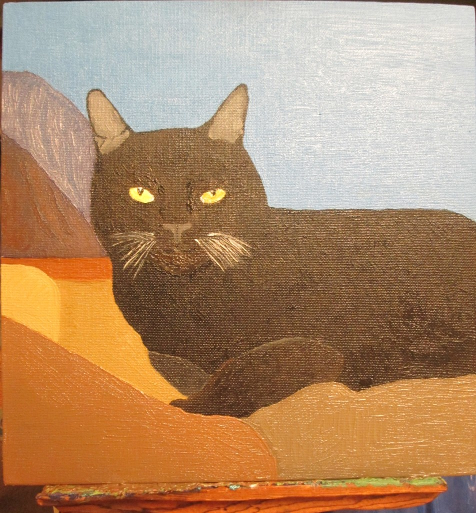 The completed painting of Irina the cat with the San Bernardino Mountains as a backdrop.