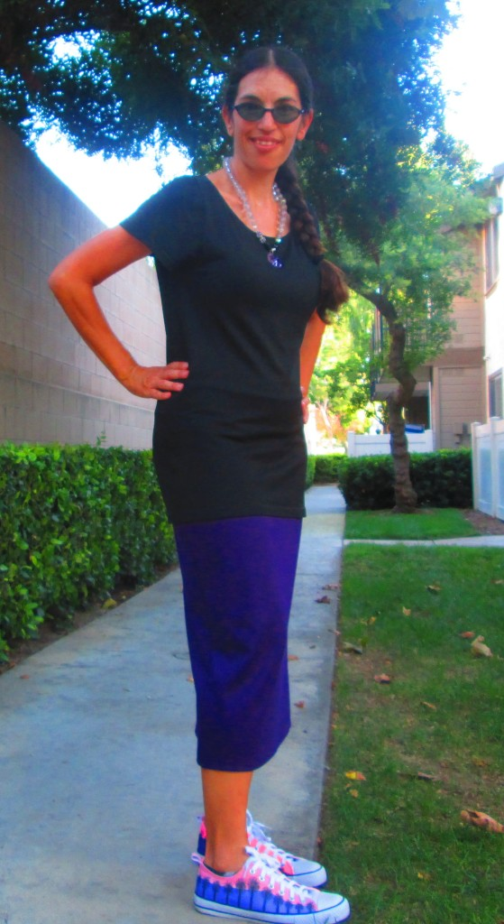 I worea black top and a purple pencil skirt, which matched the hues of the sunset on the shoes.