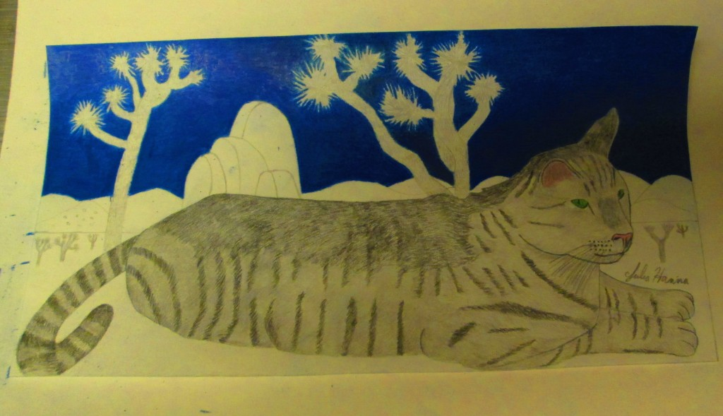 After I drew Stripey cat with the Joshua tree background, and I began to color in the sky with a dark blue pencil.