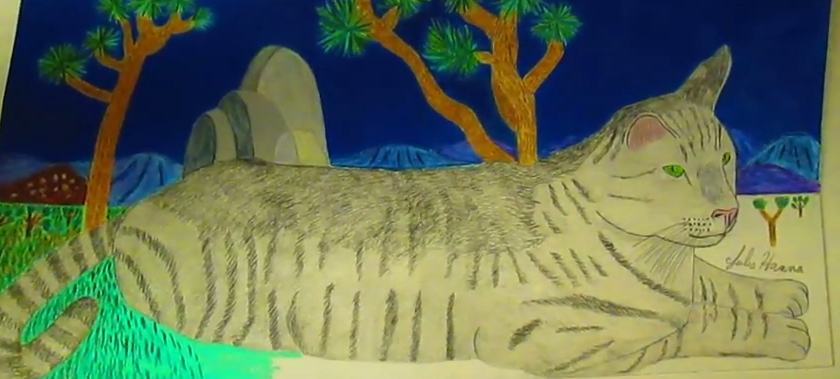 Here I started coloring in the grass surround Stripey cat with several different shades of green colored pencils.