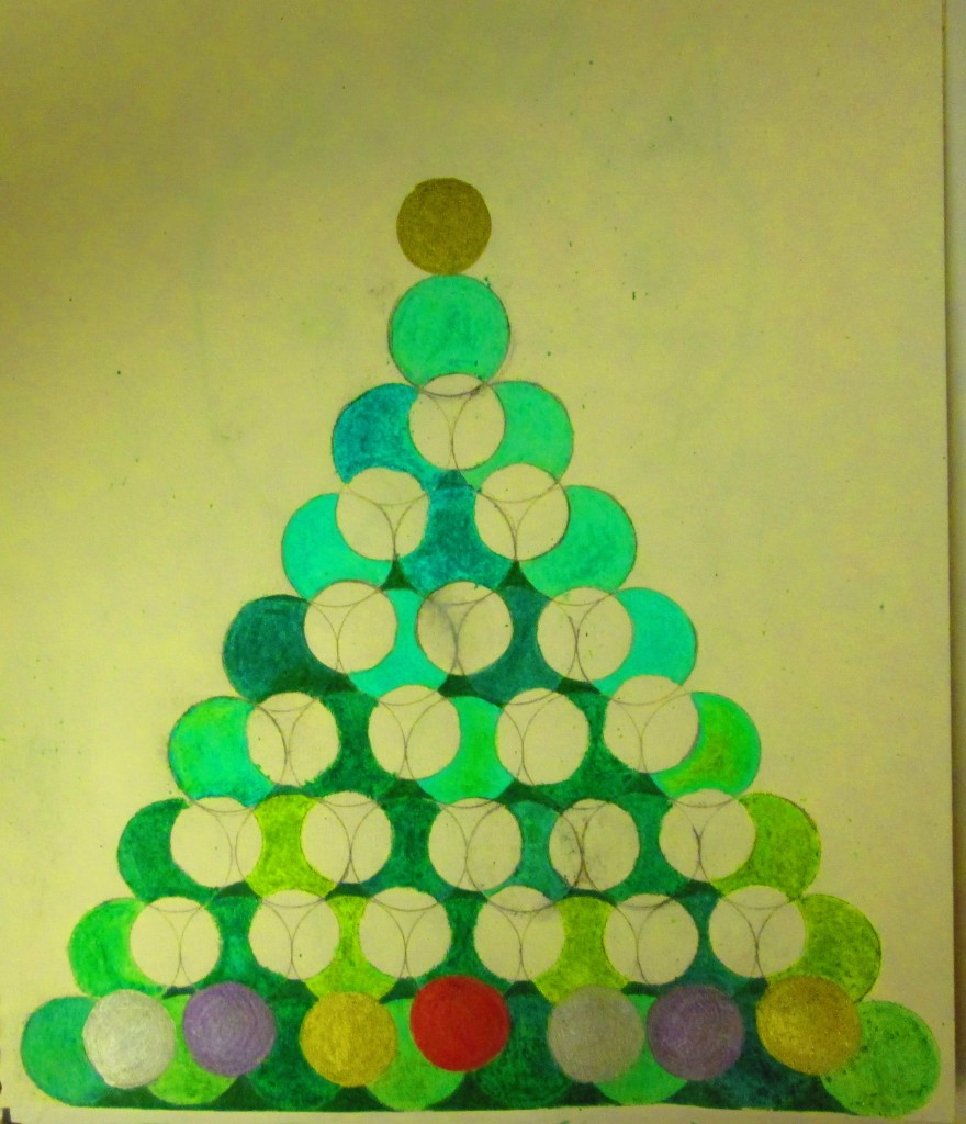 The tree topper and ornaments were colored in with metallic markers.