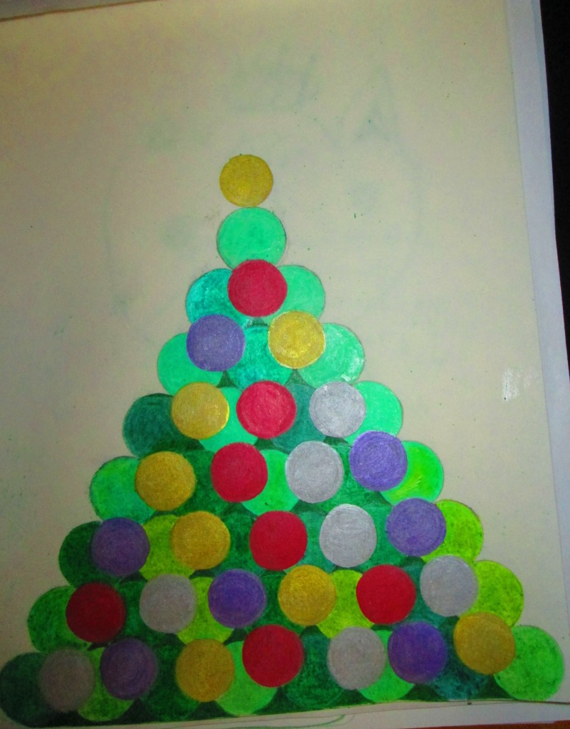 Here I finished coloring in all the ornaments on the tree.