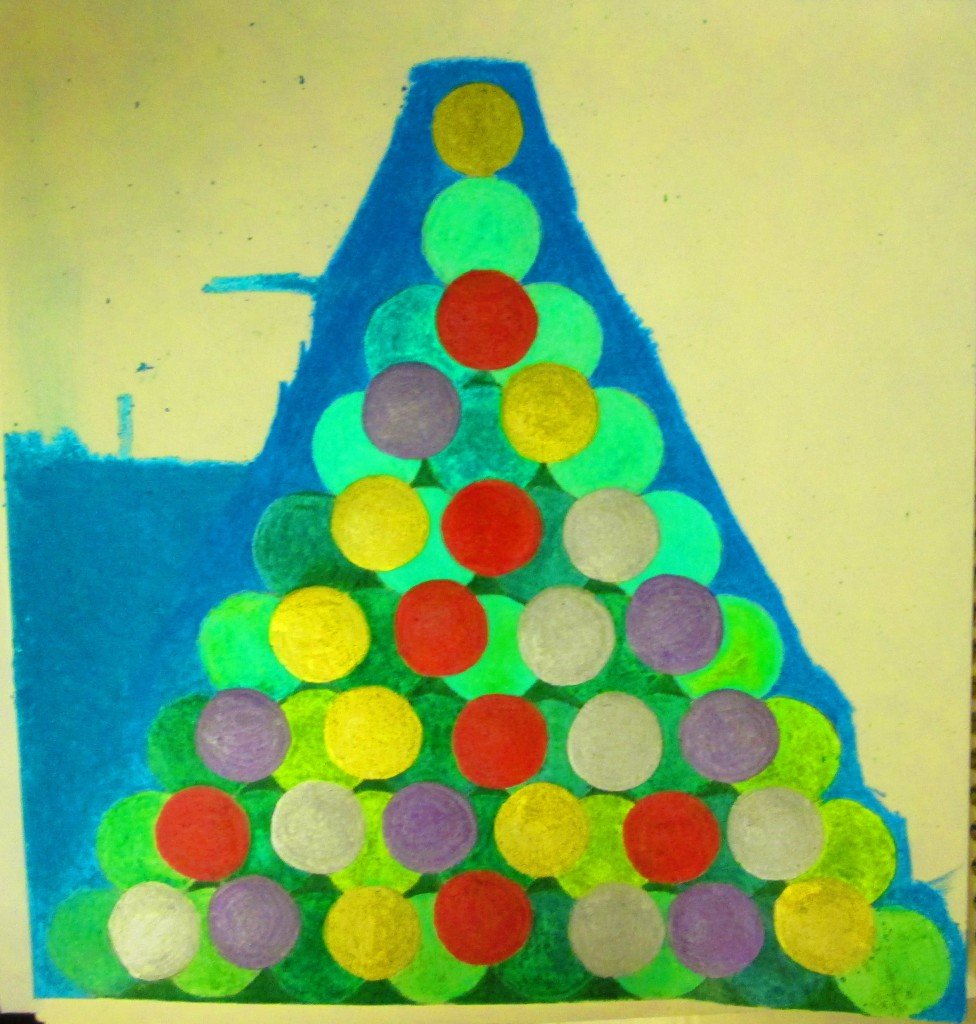 I used a blue crayon to color in the sky around the Christmas tree.