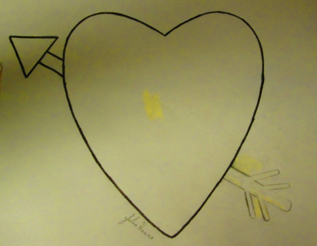 I used a marker to trace around the heart and arrow illustration.
