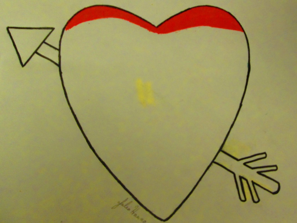 A red colored pencil was used to start coloring in the heart.