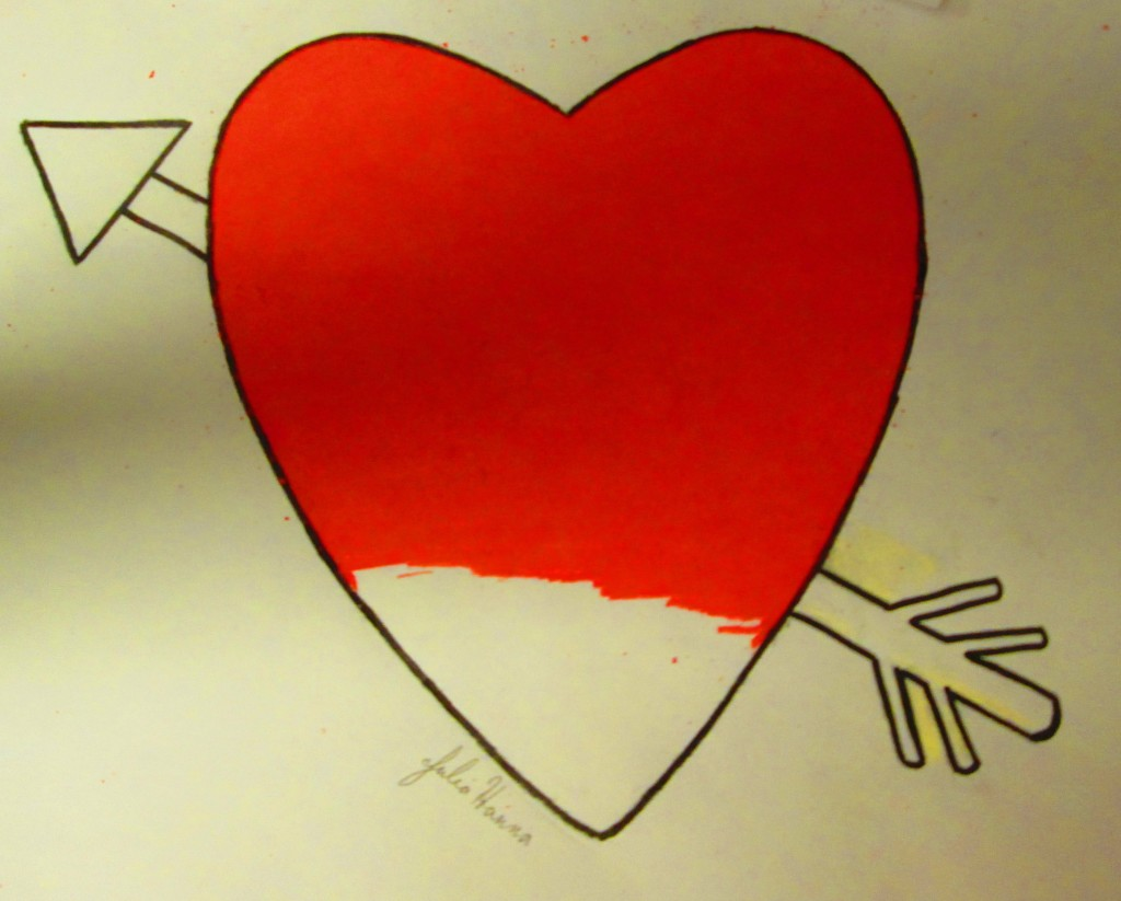 Here I have colored in most of the red heart.