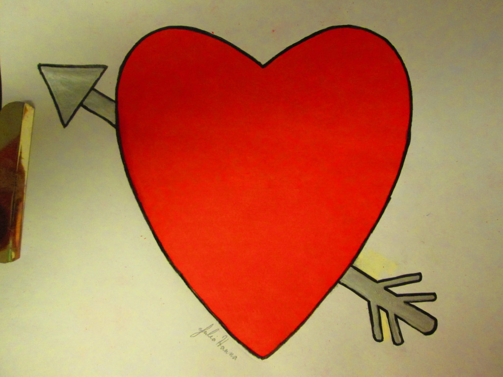 I used a metallic marker to color in the arrow through the heart.